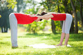 Couples Yoga, man and woman doing yoga exercises in the park — Stockfoto