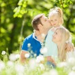 Happy mother, father and daughter in the park — Stock Photo #34323611