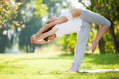 йога пара, мужчина и женщина делает упражнения йоги в парке — Стоковое фото