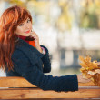 Stock Photo: Young pretty womrelaxing in autumn park