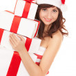 Happy santwomwith gift boxes — Stock Photo #36297235