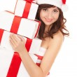 Stock Photo: Happy santwomwith gift boxes