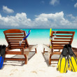 Two deckchairs on the tropical beach — Stock Photo