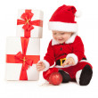 Cute santa baby on the white background — Stok fotoğraf