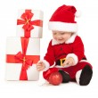 Cute santa baby on the white background — Stock Photo
