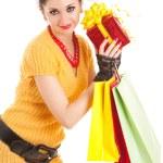 Fun santa woman with christmas gifts — Stock Photo #9427248
