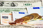 Dollars euro and czech money line growth — Stock Photo
