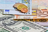 Dollars euro and czech money — Stock Photo