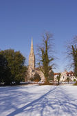 Salisbury cathedral after snow fall — Stock Photo