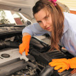 Stock Photo: Womrepairing car.