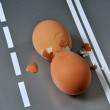 Two broken steep eggs. The concept of an accident — Stock Photo