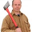 Portrait of a man. a Builder, a woodcutter — Stock Photo
