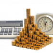 Coins and calculator. Coins, folded in the bars. Time is money — Stock Photo