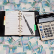 Stock Photo: Money, calculator, Notepad and pen