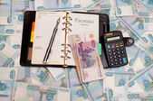 Money, calculator, Notepad and pen — Stock Photo