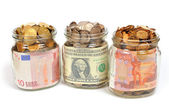 Banks with money, rubles, dollars, euros — Stock Photo