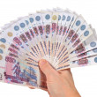 Fan of Russian money in a man's hand. white background — 图库照片