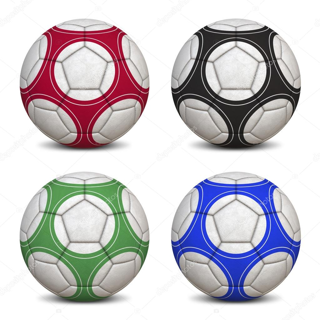 Four Soccer Balls - Hyper Realistic 3D Illustrations (jpeg file with clipping path) — Stock Photo #13883112