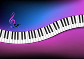 Blue and Pink Background Curved Piano Keyboard — Stock Vector