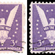3 Cent US Postage Stamp Win the War from 1942 - Stock Photo