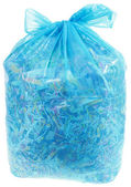 Transparent Plastic Bag with Paper Shreddings — Stock Photo