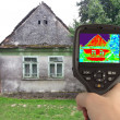 Thermal Image of the Old House — Stok fotoğraf
