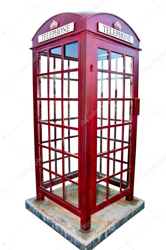 孤立在白色背景上的英国的红色电话亭