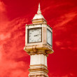 The Thai tower clock of number thai style isolated on red sky ba — Stock Photo #11503026