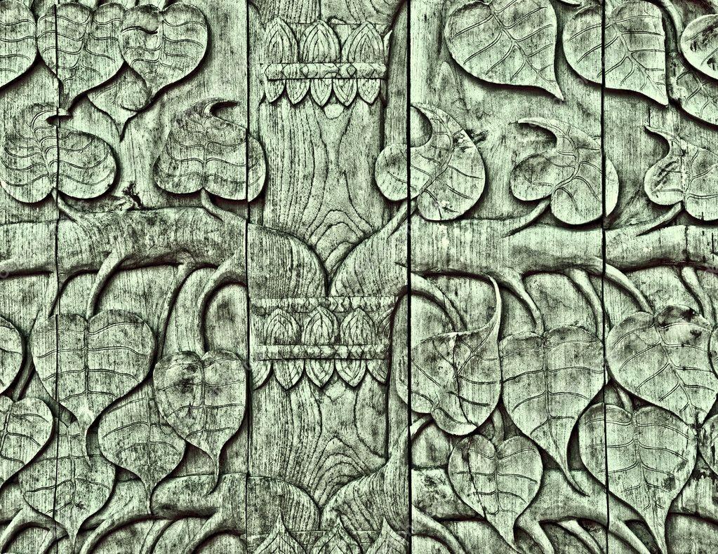 模式叶博爱医院树的木头雕刻