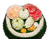 Carving fruit of thai style isolated on white background — Stock Photo