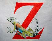 Grunge arka plan boyama kertenkele — Stok fotoğraf