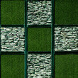 Abstract of artificial grass with stone - Stock Photo