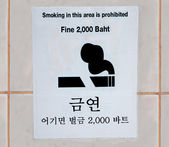 Sign smoking prohibit area of many language on wall — Stock Photo