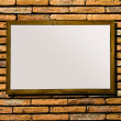Blank of billboard on brickwall background - Stock Photo