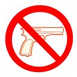 Sign of no gun isolated on white background - Stock Photo