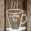 Sketch chalk cup of coffee and tea on wood w — Stock Photo