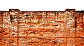 Le vieux brickwall isolé sur fond blanc — Photo