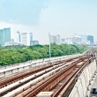 BANGKOK, THAILAND - JUNE 25: The Tracks of train on sky train in — Stock Photo