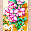 The Carving ceramic of orchid on wall background — Stock Photo