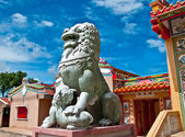 Stone lion in joss house — Stock Photo