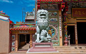 The Stone lion in joss house — Stock Photo