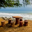 Stock Photo: Empty picnic table on beach