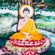 Thai painting art about buddha status on wall of the temple. Thi - Stock Photo