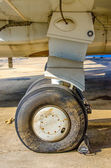 Front landing gear aircraft on the ground — Stock Photo