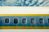 Window of airplane on blue sky background — Стоковое фото
