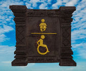 Sign restroom of baby with disable isolated on blue sky backgrou — Stock Photo