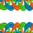 Photo: Blue and green and orange ribbon isolated on white background
