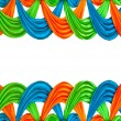 Blue and green and orange ribbon isolated on white background — 图库照片