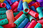 Closeup of colorful hair rollers — Stock Photo