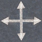 White arrow 4 direction on the road background — Stock Photo